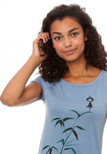 T-Shirt Yogamaedchen Blue Shadow detail vorne