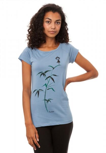 T-Shirt Yogamaedchen Blue Shadow angezogen vorne