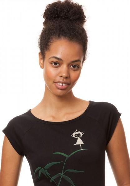 Cap Sleeve Yoga Mädchen Bio Baumwoll T-Shirt Fellherz Black Detail