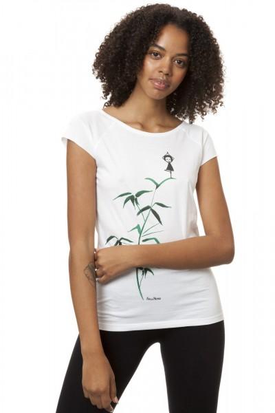 Fellherz T-Shirt Yogamaedchen White angezogen vorne
