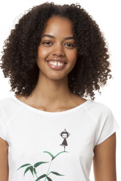 T-Shirt Yogamaedchen White detail vorne