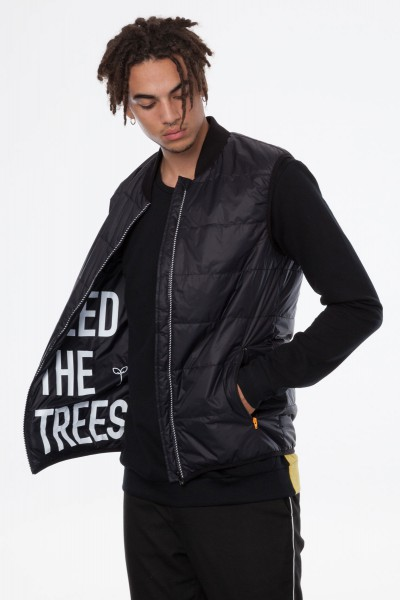 Thokkthokk Light Kapok Vest Mens Black PETA-Approved Vegan - gefütterte Kapuzenweste Herren schwarz seitlich