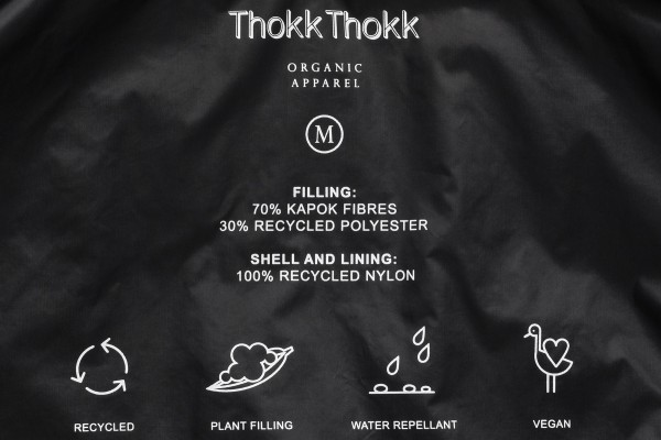 Thokkthokk Light Kapok Vest Woman Black PETA-Approved Vegan - gefütterte Kapuzenweste Damen schwarz Inlay